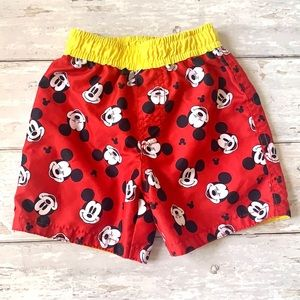 Disney Boys 18m Mickey Mouse Swimsuit Trunks Red